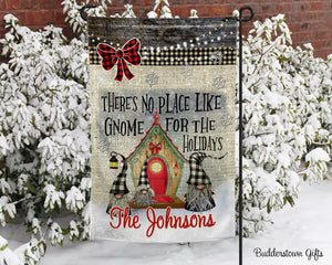 No place like Gnome- 12x18 - Garden Flag - Single Sided - Free Shipping! - winter, gnome garden flag