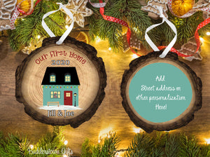 First Home - Wood Slice Ornament - Free Shipping - Our first home, new home