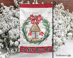 Gnome for Christmas- 12x18 - Garden Flag - Single Sided - Free Shipping! - winter garden flag