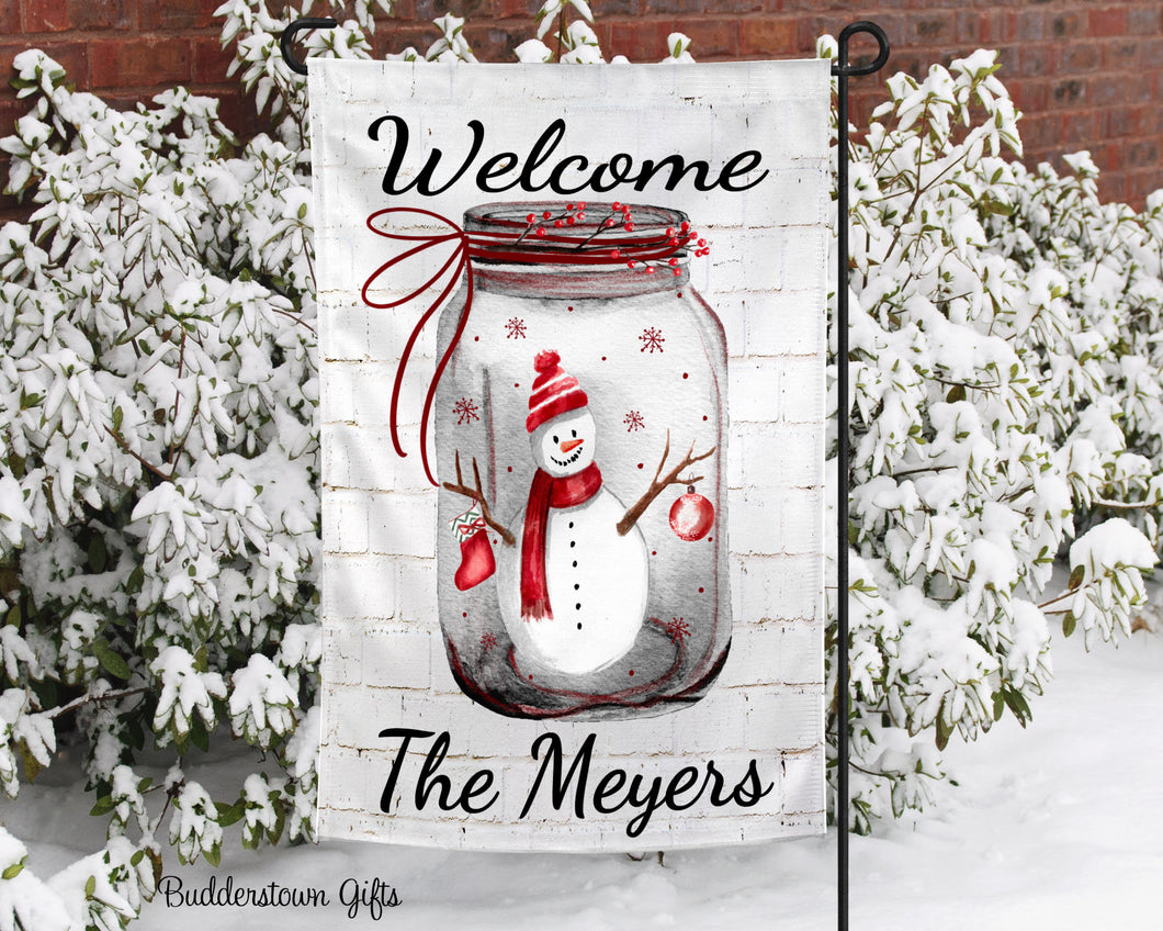 Snowman Mason Jar  - 12x18 - Garden Flag - Single Sided - Free Shipping!