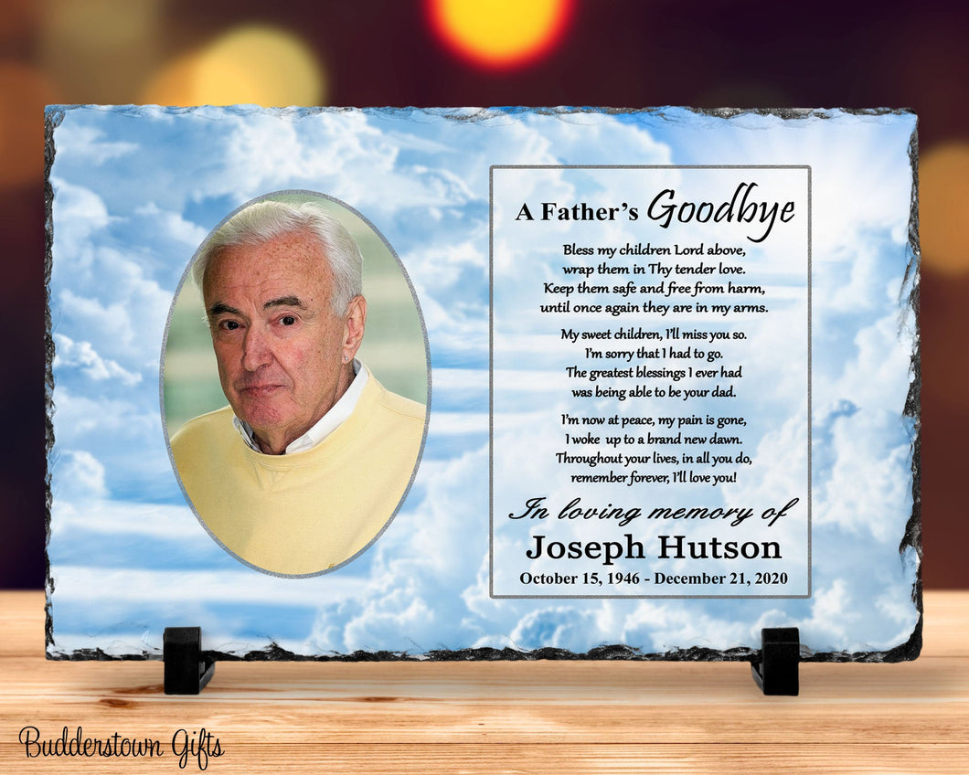 A Fathers Goodbye/ Memorial Stone Slate, Heaven Stairway, remembrance, tribute, Plaque,  sympathy, loss of a father