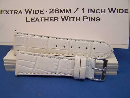 Extra Wide Leather Watchband. 26mm With Pins. White