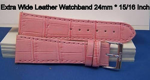Extra Wide Leather Watchband. 24mm With Pins. Pink