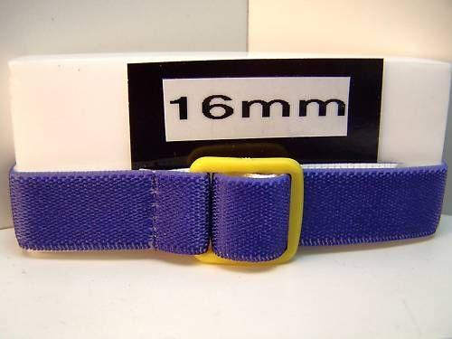 Three Ladies/Kids Fabric Stretchy Watchbands 16mm blue