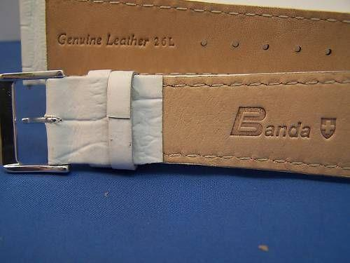 Extra Wide Leather Watchband. 24mm With Pins. White