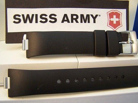 Swiss Army Watch Band Summit Analog Black Rubber Mens w/Pins.