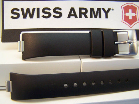 Swiss Army watchband Summit. Black Resin Ladies  / Watchband w/Pins