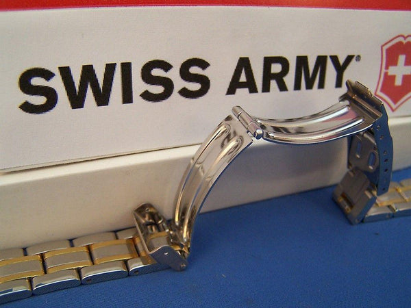 Swiss Army watchband Officer Ladies 2 Tone Gold/Silver Polished 15mm Bracelet