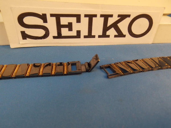 Seiko WatchBand PTQ121 P Bracelet Black and Gold Tone Ladies Watchband 12mm