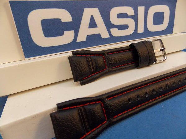 Casio watchband AQF-102 WL-4 Leather  With Red Stitching. Watchband