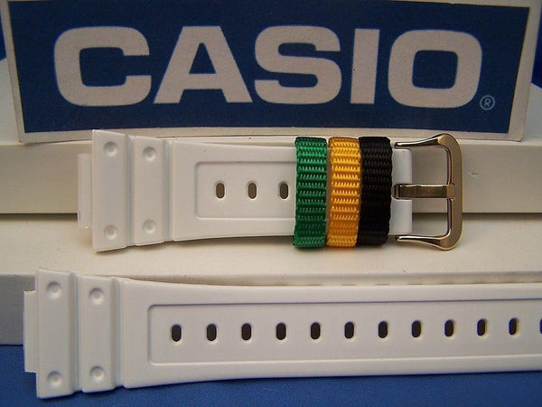 Casio watchband DW-6900 R-7 White G-Shock  w/Multi-Colored Keepers