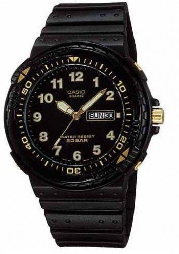 Casio watchband AQ-100, MRD-201 black Resin gold tone buckle