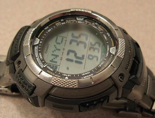 Casio Watch Parts PAW-1100 T, PRW-1100, PAG-80 T, PRG-80 T Bezel Titanium Tone