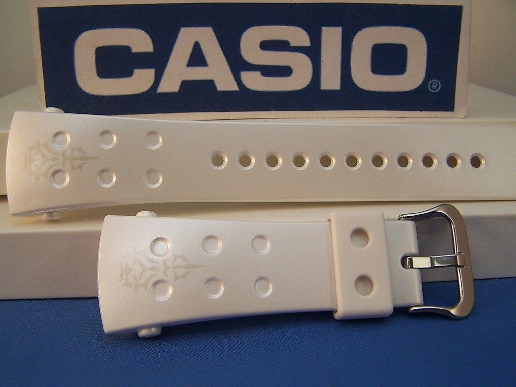 Casio watchband G-8000 F-7 G-Shock Shiny White Resin  With Decoration