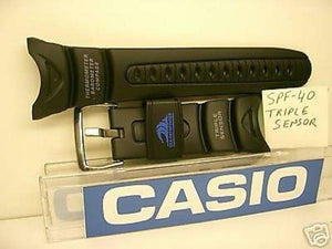 Casio watchband SPF-40. Casio Triple Sensor Black Resin  Watchband