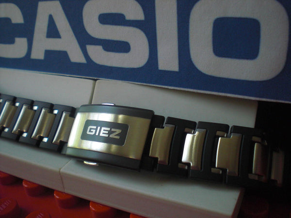 Casio watchband GS-1300 GIEZ Bracelet Steel/Black Resin w/Push Button Buckle