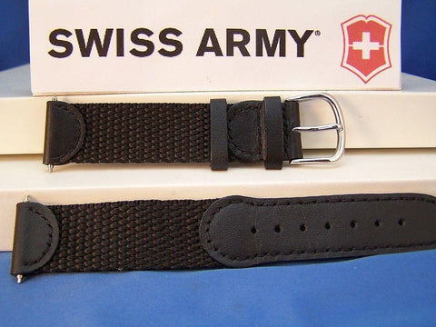 Swiss Army watchband Original 2000 black Mens Nylon Mesh/Leather w/Steel buckle