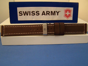 Swiss Army watchband Chrono Pro Stitched Brown Leather w/ Deploy Bkle 21mm