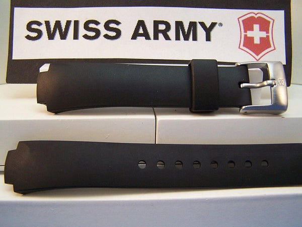 Swiss Army Watch Band Excursion Ladies Black Rubber w/pins