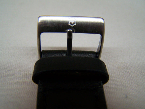 Swiss Army watchband Field. 20mm Black Leather Logo Buckle. Stitched and Padded