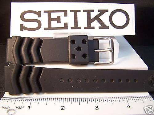 Seiko WatchBand Heavy Duty Divers Black Resin 22mm.Two-Piece . Sport