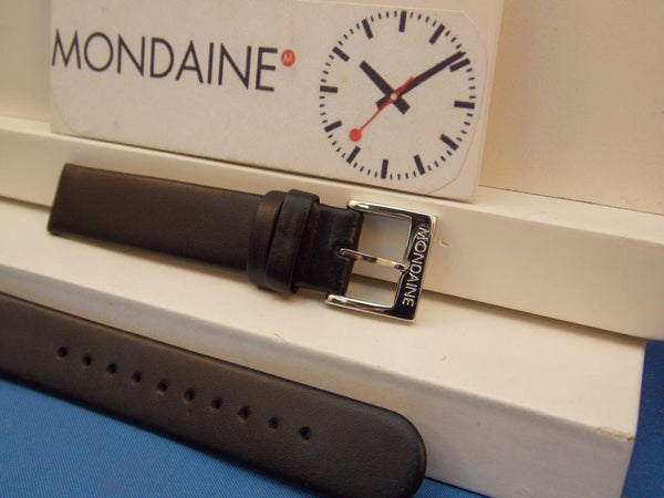 Mondaine Swiss Railways watchband FE3116.20Q 16mm wide  Black Leather .