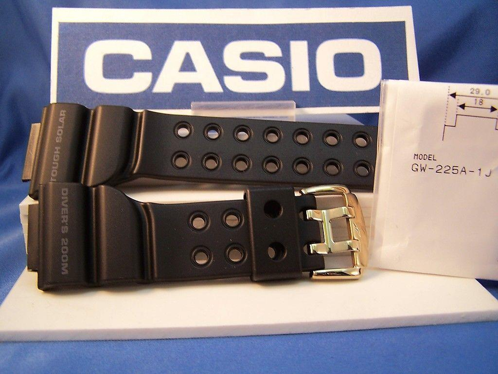 Casio watchband GW-225 Frogman Black Resin w/ Gold Tone buckle