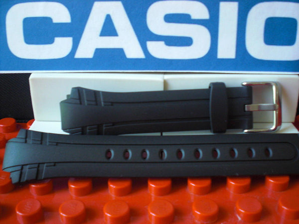 Casio watchband MTR-302 Black Resin  w/ Steel buckle and Attaching Pins