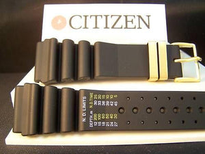 Citizen watchband Original Aqualand 24mm. Graphic/Meters gold tone buckle