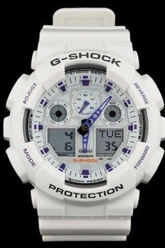 Casio Watch Parts GA-100 A-7 Bezel / Shell White Black/Purple G-Shock Letters