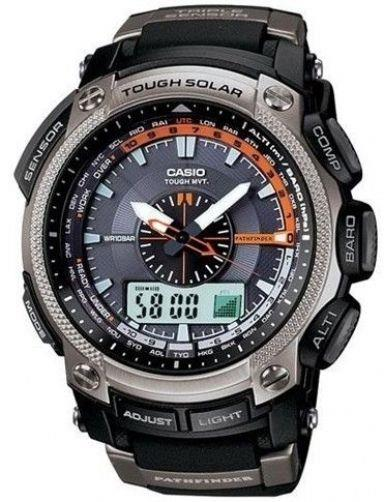 Casio watchband PAW-5000 Pathfinder Solar Atomic Black Resin . Watchband
