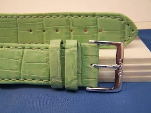 Extra Wide Leather Watchband. 24mm With Pins. Lt Green