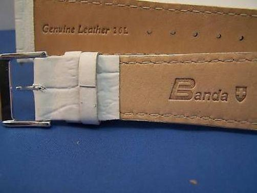 24mm Wide white Leather .Genuine Leather.Good Quality Watchband