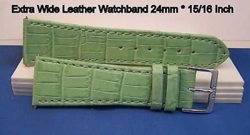 24mm Wide Lt Green Leathr .Genuine Leather.Good Quality Watchband