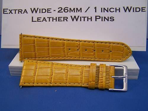 Extra Wide Leather Watchband. 26mm With Pins. Gold