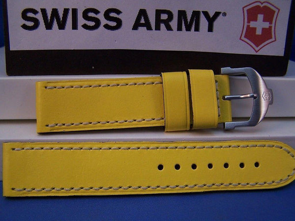 Swiss Army watchband Cavalier Yellow Italian Leather Man's 20mm w/Spring Bars