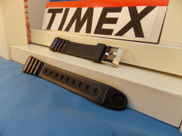 Timex watchband IronMan Ladies Black Resin w/blue Graphics 15mm
