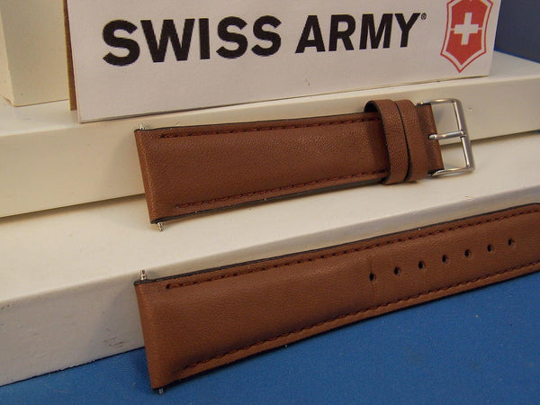 Swiss Army watchband Field 20mm Brown Leather Logo buckle. Stitched and Padded