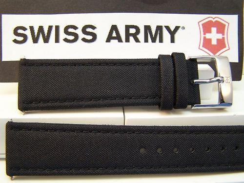 Swiss Army watchband Infantry 22mm black Mesh Cap leathr