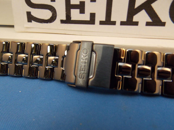 Seiko WatchBand SDWF17P Black and Gold Tone Bracelet w/Fold Safety Clasp buckle