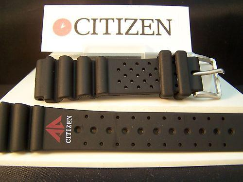 Citizen watchband Promaster Logo 20mm Black Rubber Diver Style . Watchband
