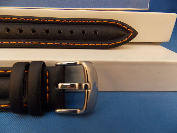 Casio watchband EF-308. Ef-301. Edifice Black Leather Orange Cotton Stitch Trim