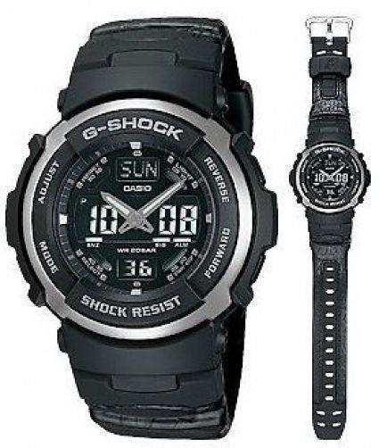 Casio watchband G-304 Rl G-Shock Resin and Leather  Black. Watchband
