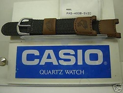 Casio watchband Pas-400B Patfinder Brown leather Gray nylon
