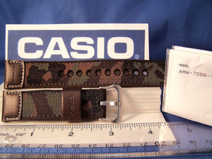 "Casio watchband AMW-705 B.22mm"" Hunting Time""  Military Brown Camouflage  w/Pin"