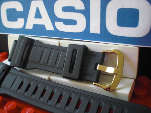 Casio watchband G-9300 w/Gold Tone Buckle Twin Sensor Tough Solar Blk Rub