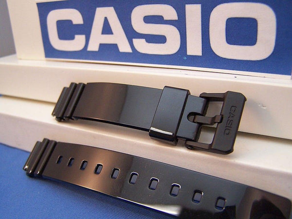 Casio watchband LRW-200 Polished Shiny Black Resin  14mm Ladies.Watchband