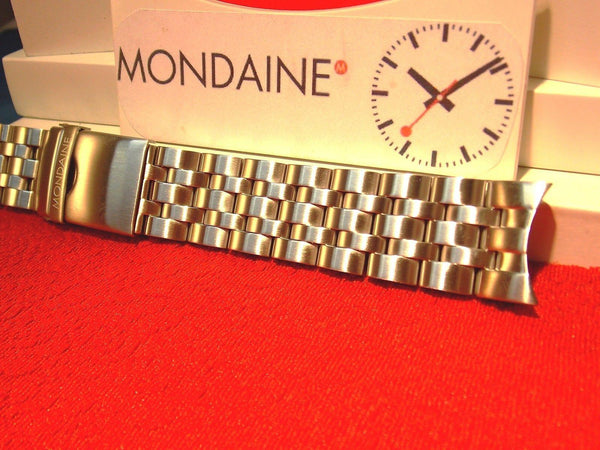 Mondaine Swiss Railways watchband 24mm Wide All Solid Steel Curved End Braclet