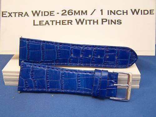 Extra Wide Leather Watchband. 26mm With Pins. blue