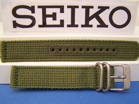 Seiko WatchBand SNK813 Military Green 18mm 2ply Fabric w/Steel Buckle/Keepers
